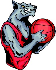Grinning grey wolf with a basketball ball.