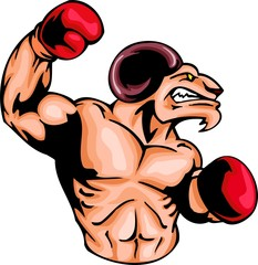 Enraged ram with a boxing gloves. Sport mascot animals.