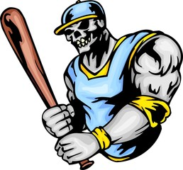 Skeleton in a sine-yellow uniform and with a bat in hands.