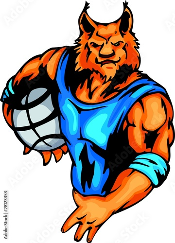 Influential orange lynx with  basketball ball under the arm.
