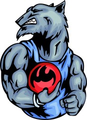 Grey wolf with a bowling ball. Sport mascot animals.