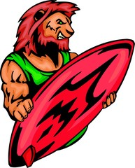 Lion  with a red surfboard. Sport mascot animals.