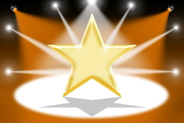 Gold star with light beams - Orange background