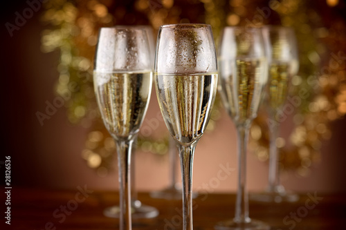 flutes with champagne