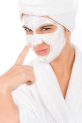 Teenager facial mask - happy woman