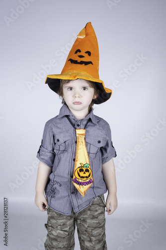 Child posing on a white background