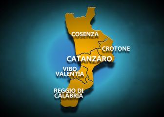 Calabria - Province su fondo blu