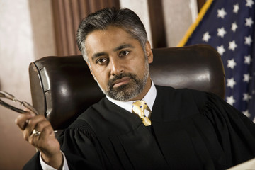 Middle-aged judge in a courtroom