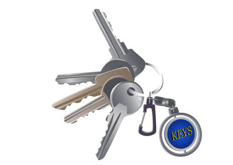 Set of various keys on a charm