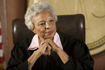 Female judge sitting in court
