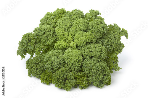 Fresh green kale at white background