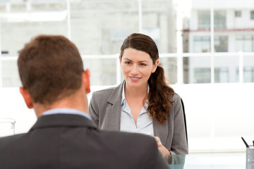 Attractive female manager during a interview with a businessman