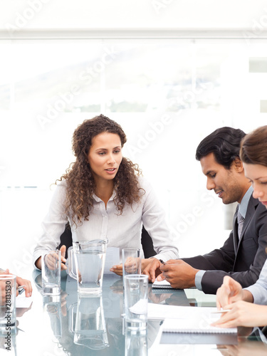 Business team working together around a table