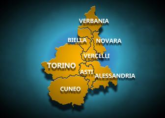 Piemonte - Province su fondo blu