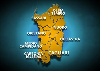 Sardegna - Province su fondo blu