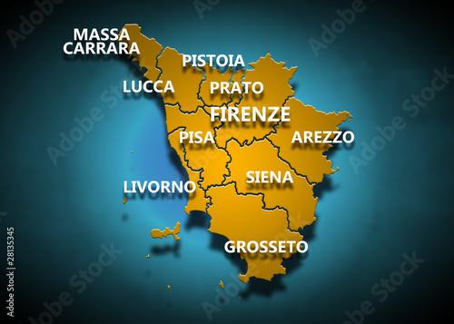 Toscana - Province su fondo blu