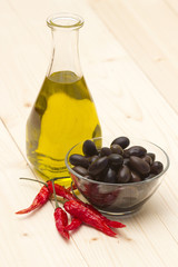 olive oil, black olives, chili peppers
