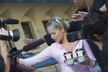 Female celebrity and paparazzi