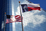Texas and US flags poster