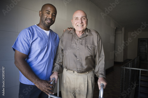 Healthcare worker with elderly man