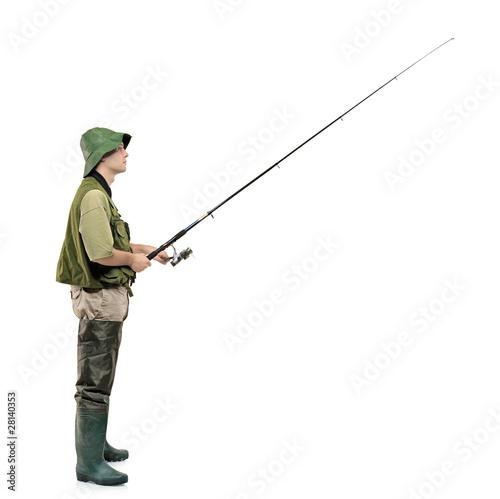 Papiers peints Peche Full length portrait of a fisherman holding a fishing pole
