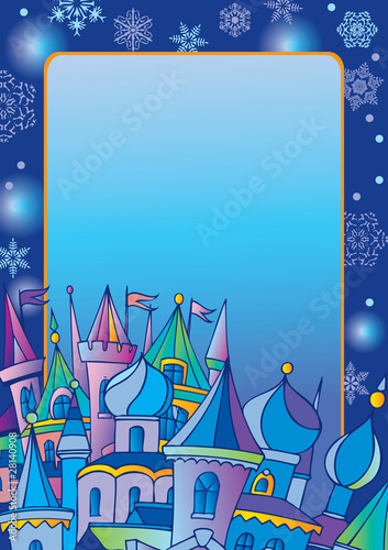 Christmas postcard with winter town. Vector art-illustration.
