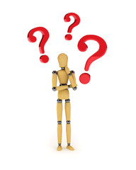 Confused mannequin with question marks over white background