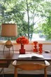 Retro ornaments on wooden window desk