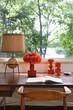 Retro ornaments on wooden window desk