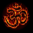 Om sign in flame and fire