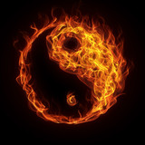 Yin Yang sign in fire and flame