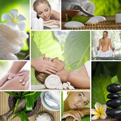 spa, masaż mix zdjęć kolaż orchidea