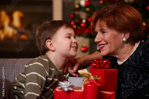 Grandmother and grandson at christmas