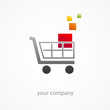 Logo discount. Shopping cart (vector)