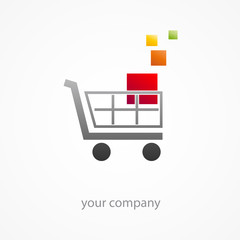Logo discount. Shopping cart (vector)