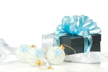 Christmas ornaments over white background