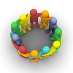 Social group of friends. 3d rendered illustration.