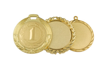 Gold medals isolated on white background