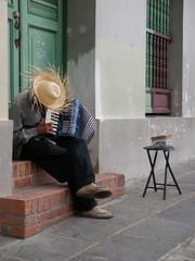 Man Playing Accordion in Old San Juan Doorway