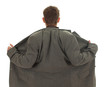 homeless biznessman in grey, oversized suit