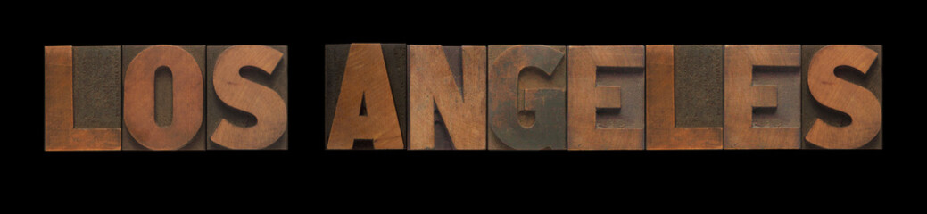 Los Angeles in old letterpress wood type