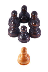 White pawn isolated from a group of black pawns , on white