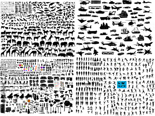 hundreds mix silhouette - vector - 28156348