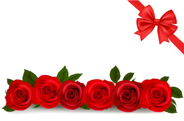 Vector illustration. Background with red roses.
