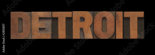 Detroit in old letterpress wood type