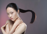 girl with flying ponytail poster