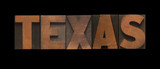 Texas in old letterpress wood type