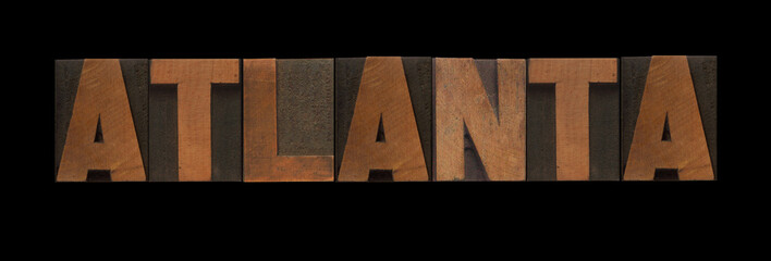 Atlanta in old letterpress wood type