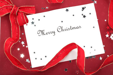 Christmas Card Red Ribbon