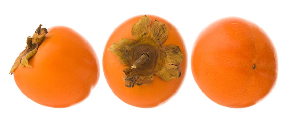 group of three persimmon fruits isolated on white background